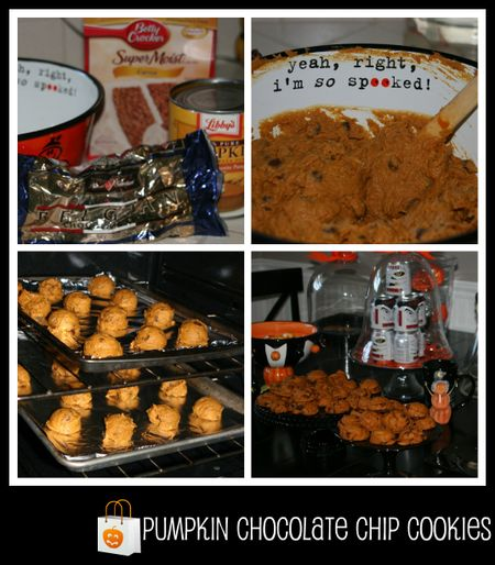Pumpkin Chocolate Chip cookies collage
